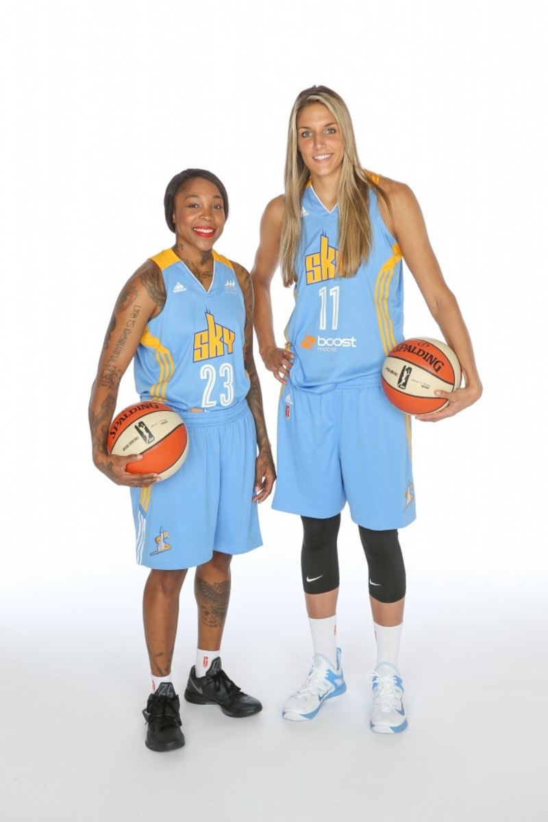 Cappie Pondexter #23 and Elena Delle Donne #11 of the Chicago Sky (Photo by Gary Dineen/NBAE via Getty Images)
