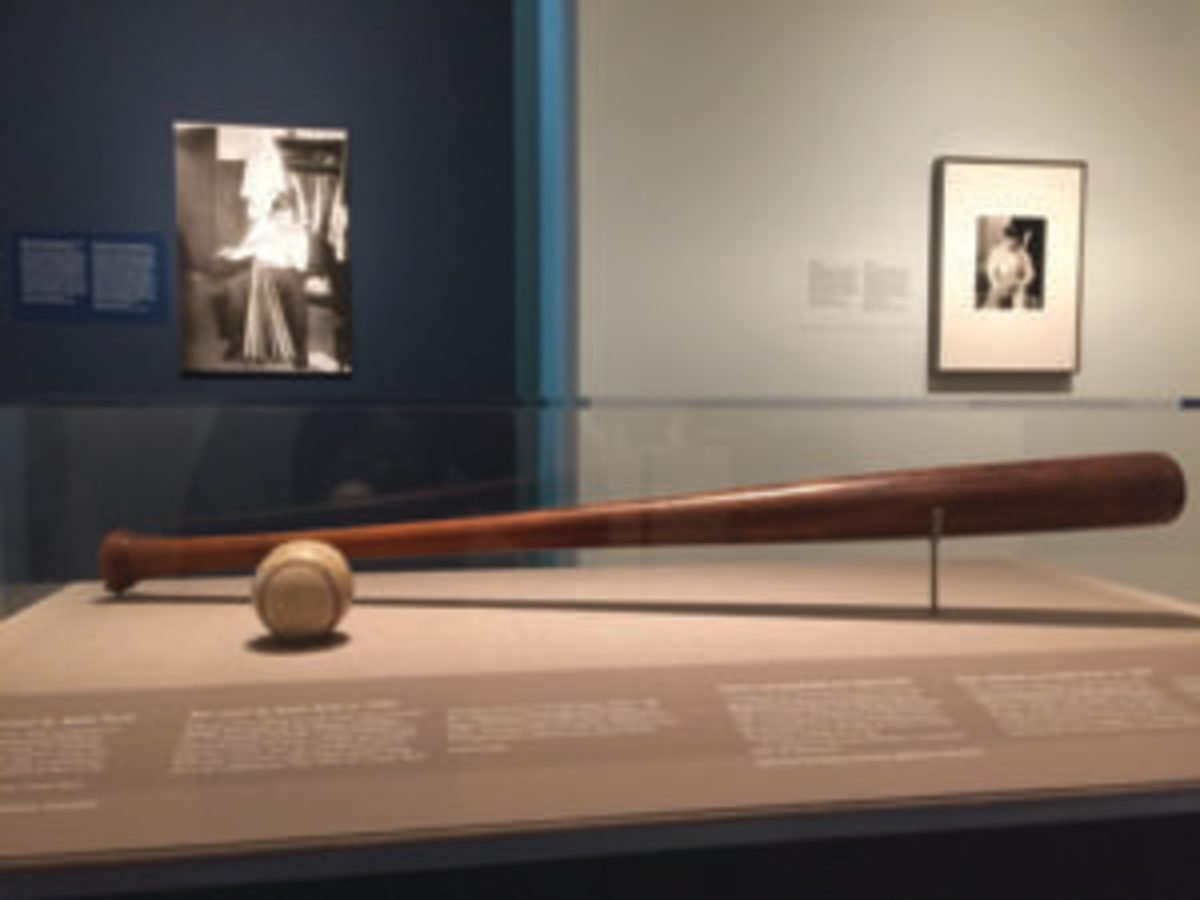 A Babe Ruth bat on display in the Babe Ruth Exhibition. (Photo Credit: One Life: Babe Ruth. Matailong Du, Smithsonian's National Portrait Gallery)