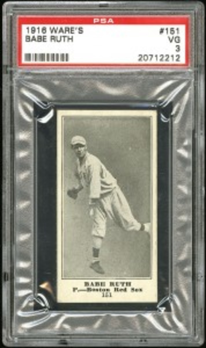 1916 M101-4 Ware's Basement Sporting Goods #151 Babe Ruth Rookie (res. $10,000; est. $20,000+) sold for a record $130,350.