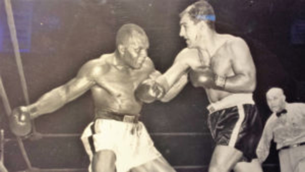 A picture of the photo from the Joe Walcott vs. Rocky Marciano 1952 title fight. Marciano KO'd Walcott to win the title. (Photos courtesy Paul Post)