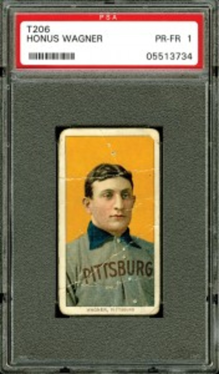 ") 1909-1911 T206 Honus Wagner - ""The All Star Café Wagner"" (res. $100,000; est. $300,000+) sold for a record $402,900 for that grade."