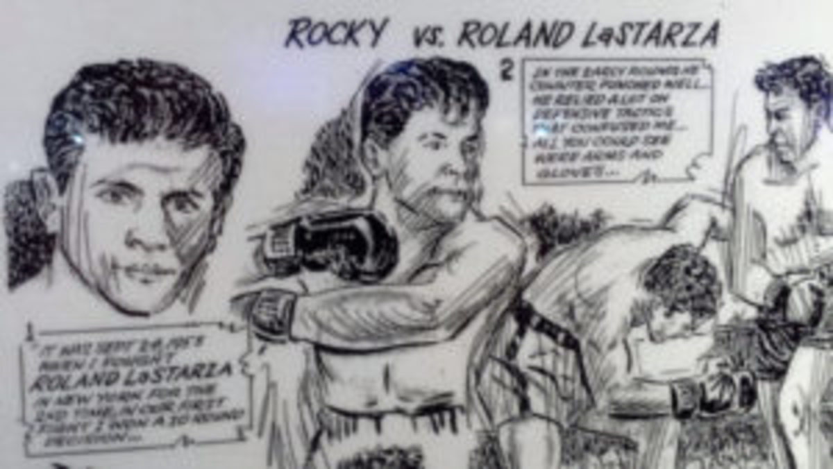 A sketch showcasing the bout between Rocky Marciano and Roland LaStarza.