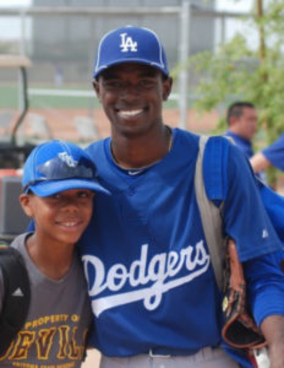 Hunter Greene (left) with Dee Gordon (right) at Dogders Spring Training when Greene was a kid. (Photo courtesy Hunter Greene Family)