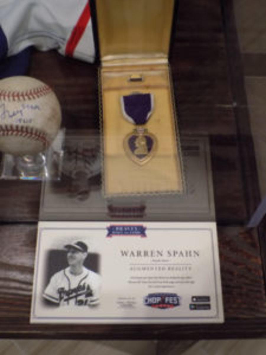 Warren Spahn's Purple Heart from WWII on display.