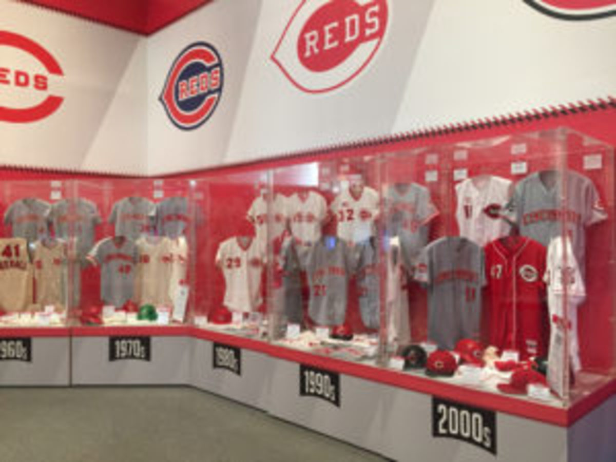 """The """"Reds Threads"""" display cases."""