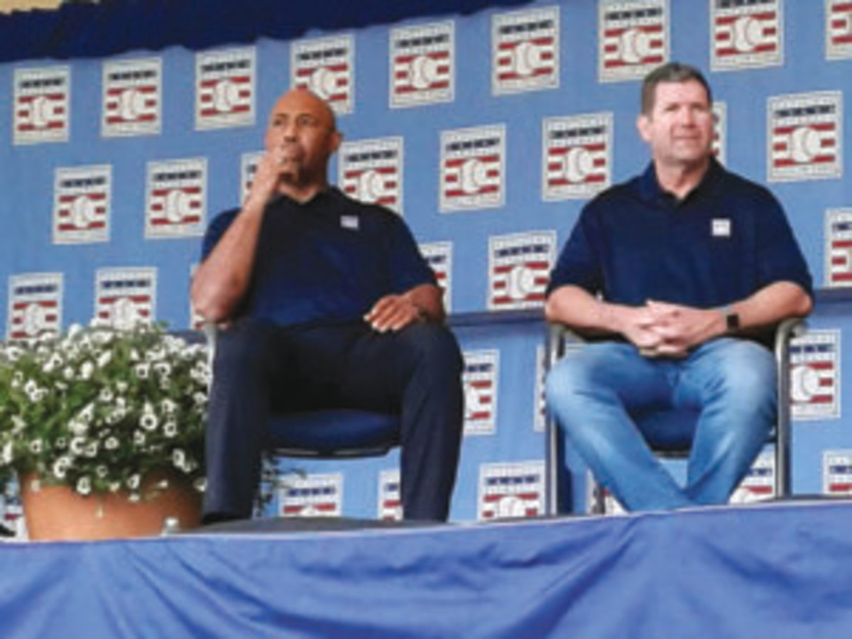 Harold Baines and Victor Martinez during the roundtable discussion wrapping up a memorable Hall of Fame Induction Weekend.
