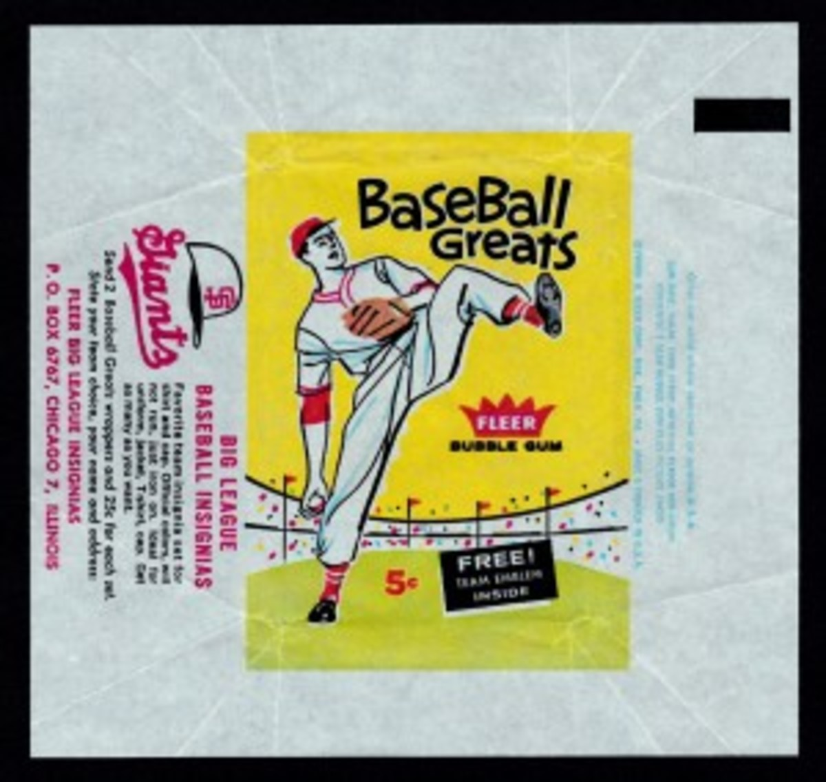 The difference at a glance: the 1960 Fleer Baseball Greats wrapper (above) highlights a pitcher; the '61 version shows a batter. Both commonly sell for $30-$40 in EX condition.