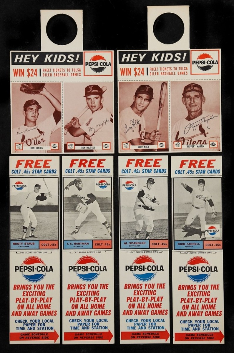 A look at a sampling of the 1963 Pepsi-Cola Colt .45s cards, with tabs, issued on a regional basis around Houston. Photo courtesy Heritage Auctions.