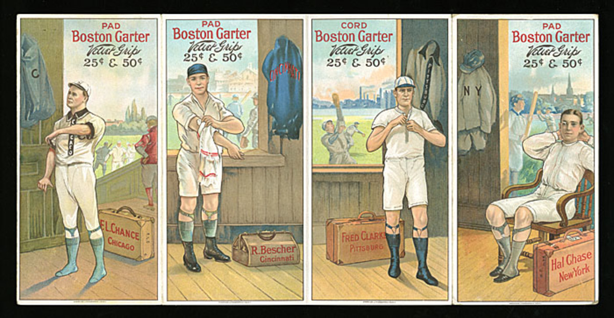 The only known 1912 Boston Garter Uncut Panel of Four Cards (res. $50,000; est. $100,000+) was hammered down at $177,750.