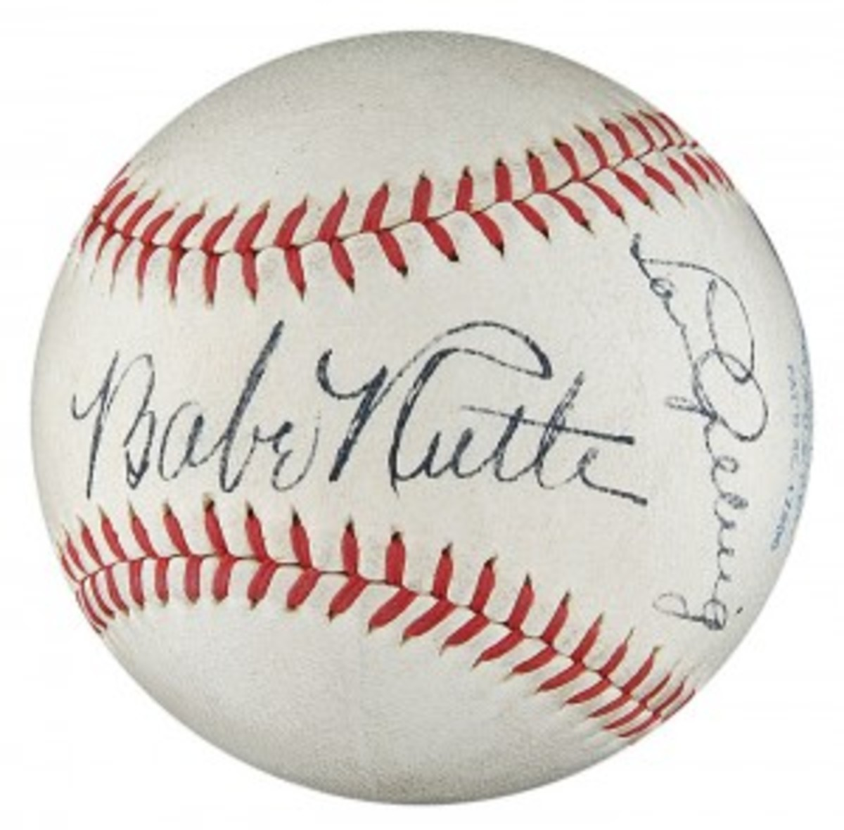 Extraordinary Babe Ruth and Lou Gehrig Signed Baseball - PSA/DNA NM-MT+ 8.5 (res. $25,000; est. $50,000+) sold for an astounding record $343,650.