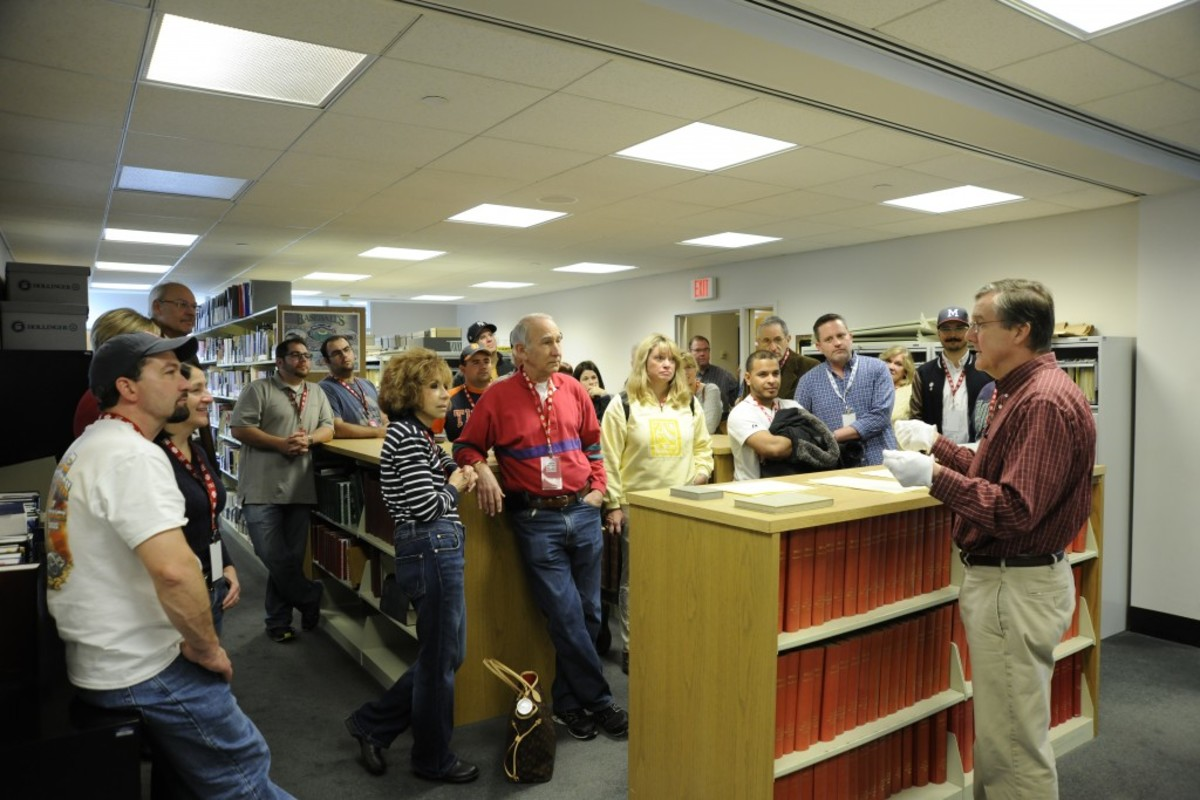 Hall of Fame Librarian Jim Gates gives guests a behind-the-scenes tour of the Museum's Giamatti Research Center. The Hall of Fame Library houses more than 3 million documents. (Milo Stewart, Jr. / National Baseball Hall of Fame)
