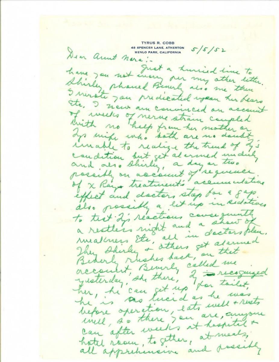 Ty Cobb letter