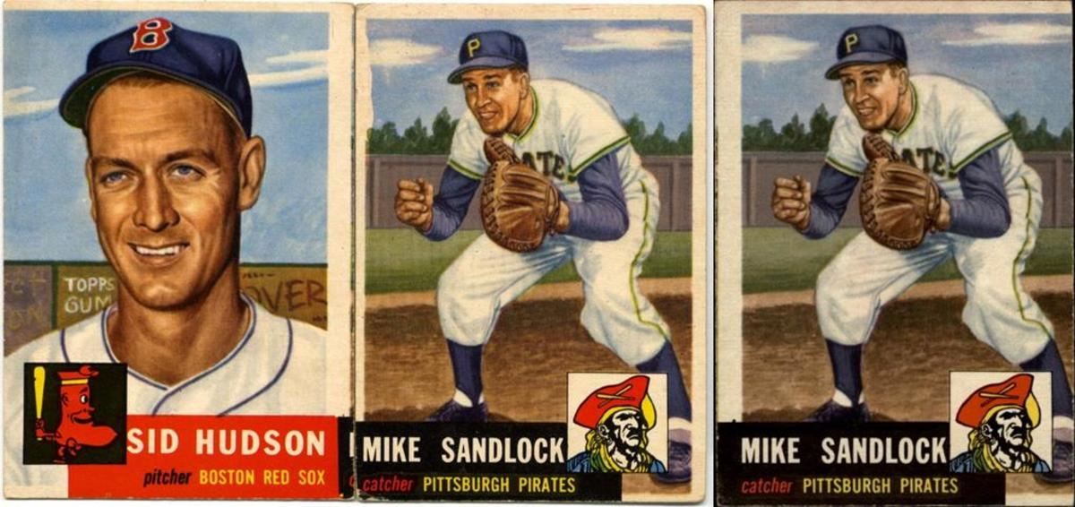 Two miscuts of Mike Sandlock (in front of the familiar gray fence) show that he was duplicated and aligned both with another black-based card (Willie Mays) and with Sid Hudson (in front of a Topps advertising sign).