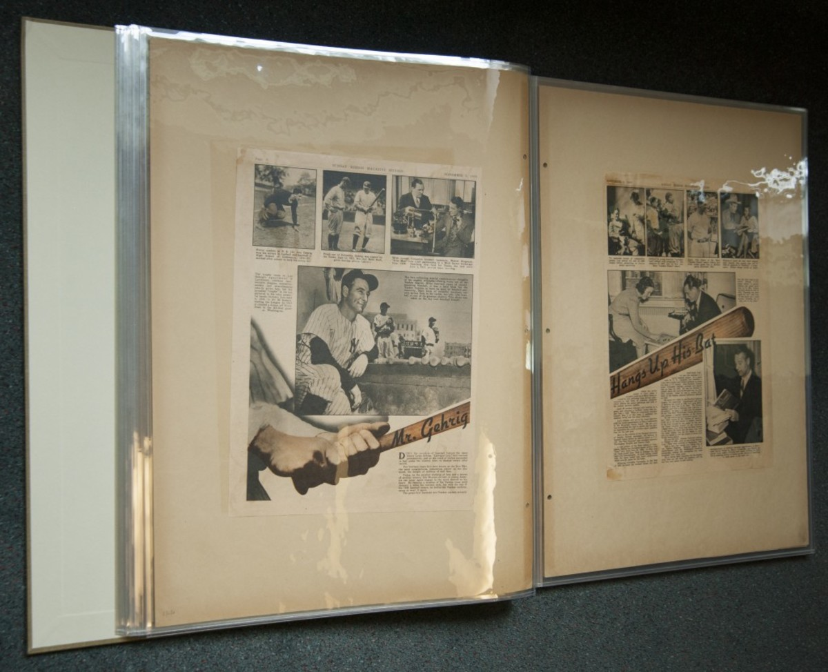 One of the items featured in the Museum's 2016 Collection Care and Conservation Workshop was an original scrapbook compiled by Mrs. Lou Gehrig. The scrapbook has been conserved and each page has been de-acidified, rebacked, enclosed in Mylar and rebound. (Milo Stewart, Jr. / National Baseball Hall of Fame)