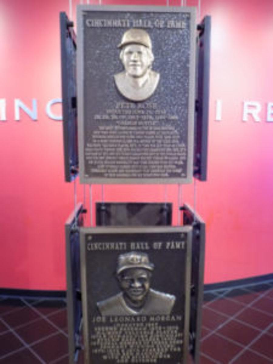 Pete Rose has a plaque in this HOF. Teammate Joe Morgan's plaque is below him.