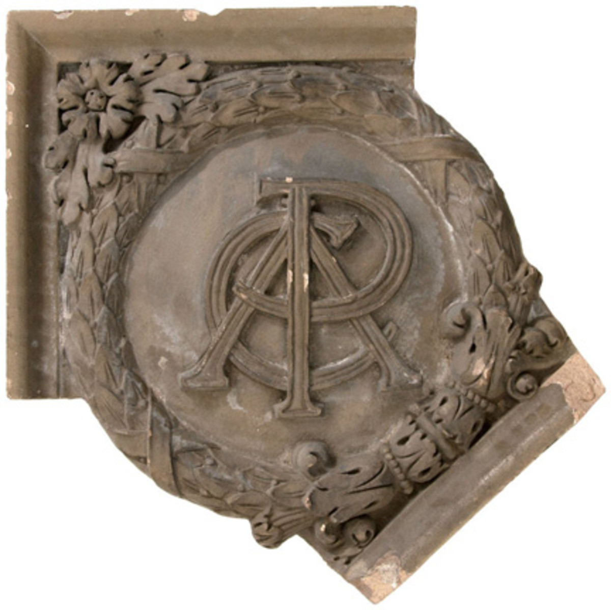 Terracotta façade haunch that survived the 1971 demolition of Pittsburgh's Forbes Field, to be auctioned Nov 12 in an online auction conducted by Hake's. Image provided by Hake's Americana & Collectibles