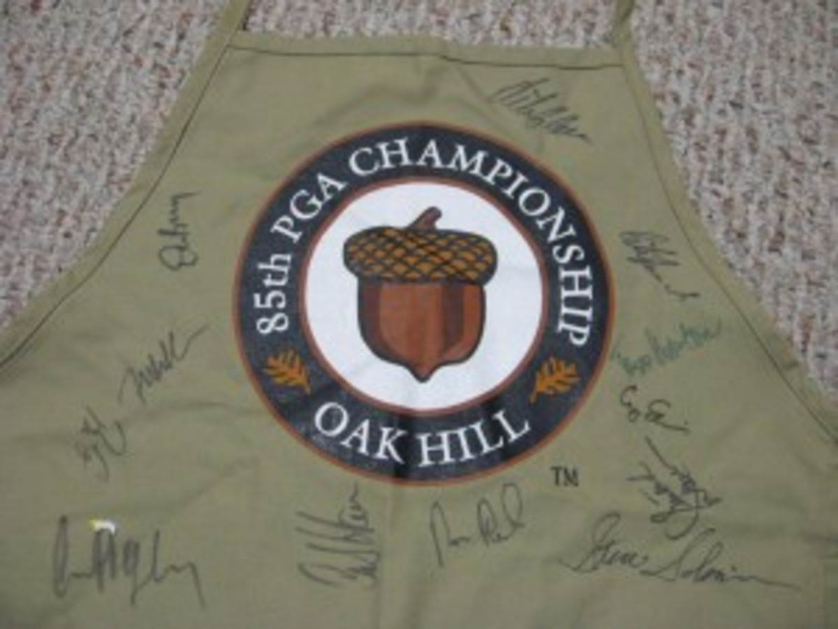 The sheets and aprons section of a local Savers revealed this gem, a 2003 PGA Championship apron signed by more than 20 golfers. The apron alone probably cost more than $30 at the tournament's gift shop when first distributed.