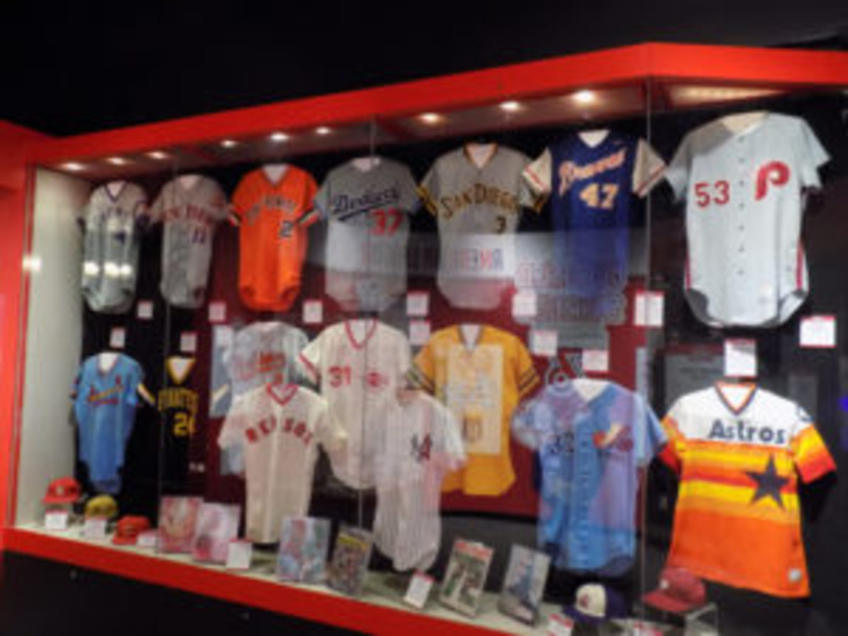 """The jersey display of opponents of """"The Big Red Machine"""" National and American leagues."""