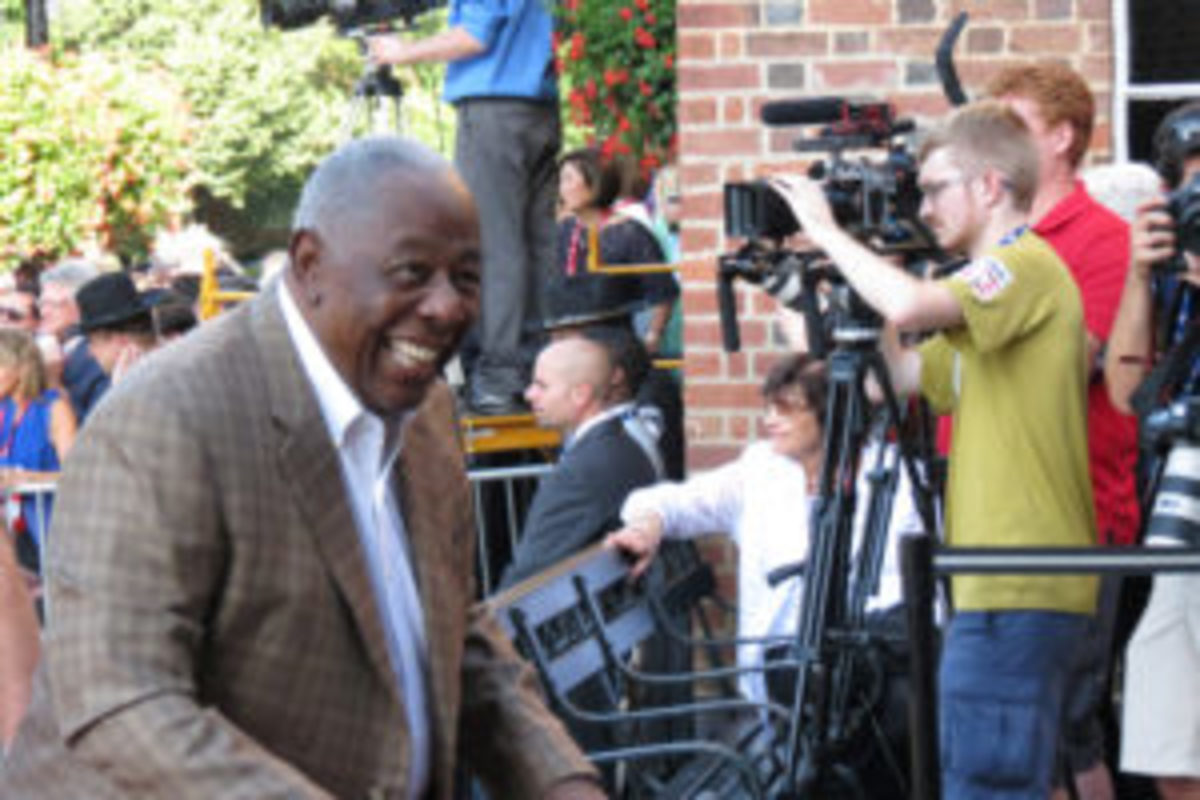 Hank Aaron arrives in Cooperstown for Hall of Fame weekend.
