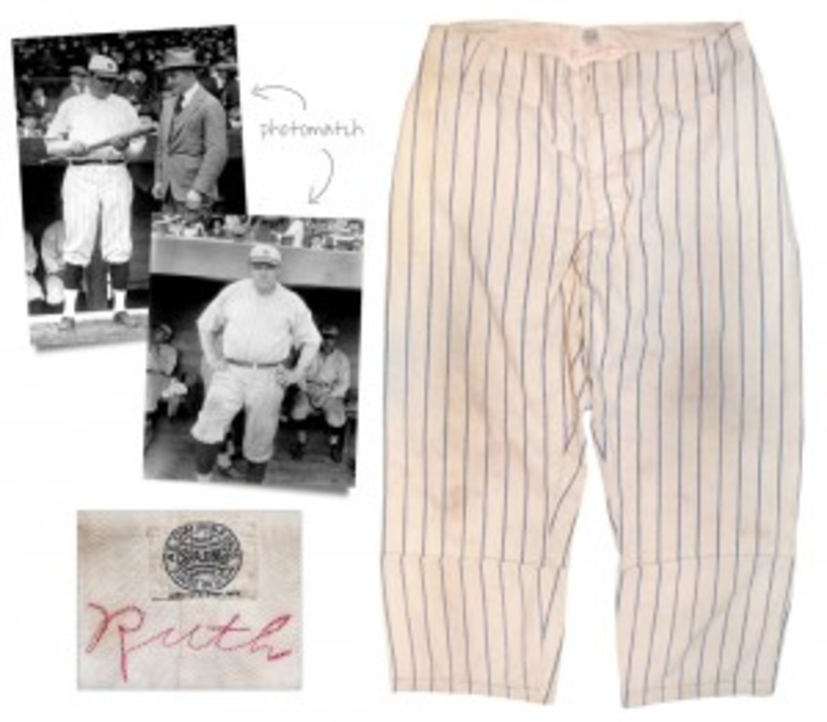 Babe Ruth pinstripe pants dating to Opening Day, 1921