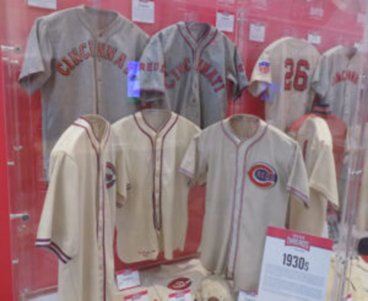The Cincinnati Reds Hall of Fame and Museum includes a plethora of Reds memorabilia, including these Reds uniforms from the 1930s. (Barry Blair photos)