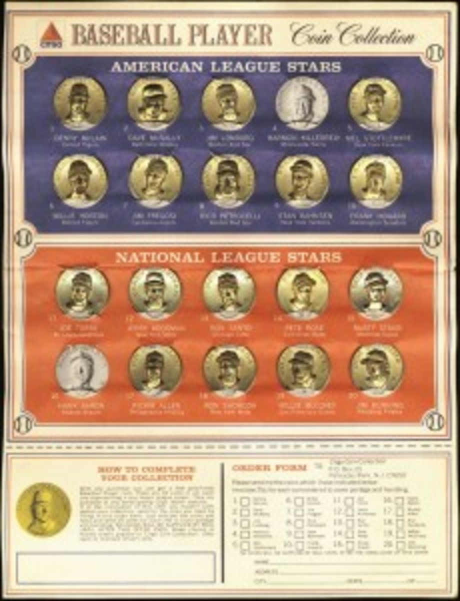 The mail-away form at the bottom is often missing. The 20-coin lineup features six Hall of Famers.