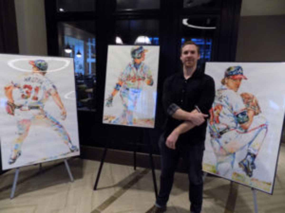 Former Braves farmhand Richard Sullivan and his paintings.