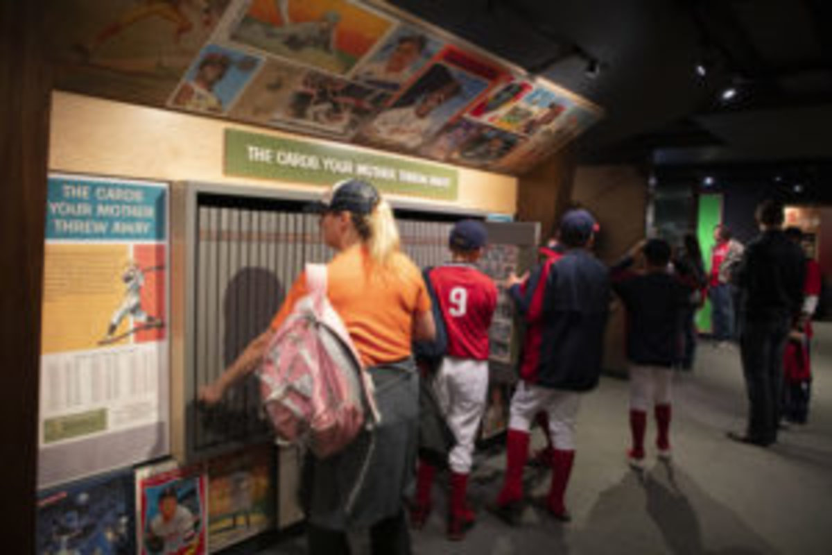 To see baseball cards from different years, attendees can pull out draws which contain cards from specific years.