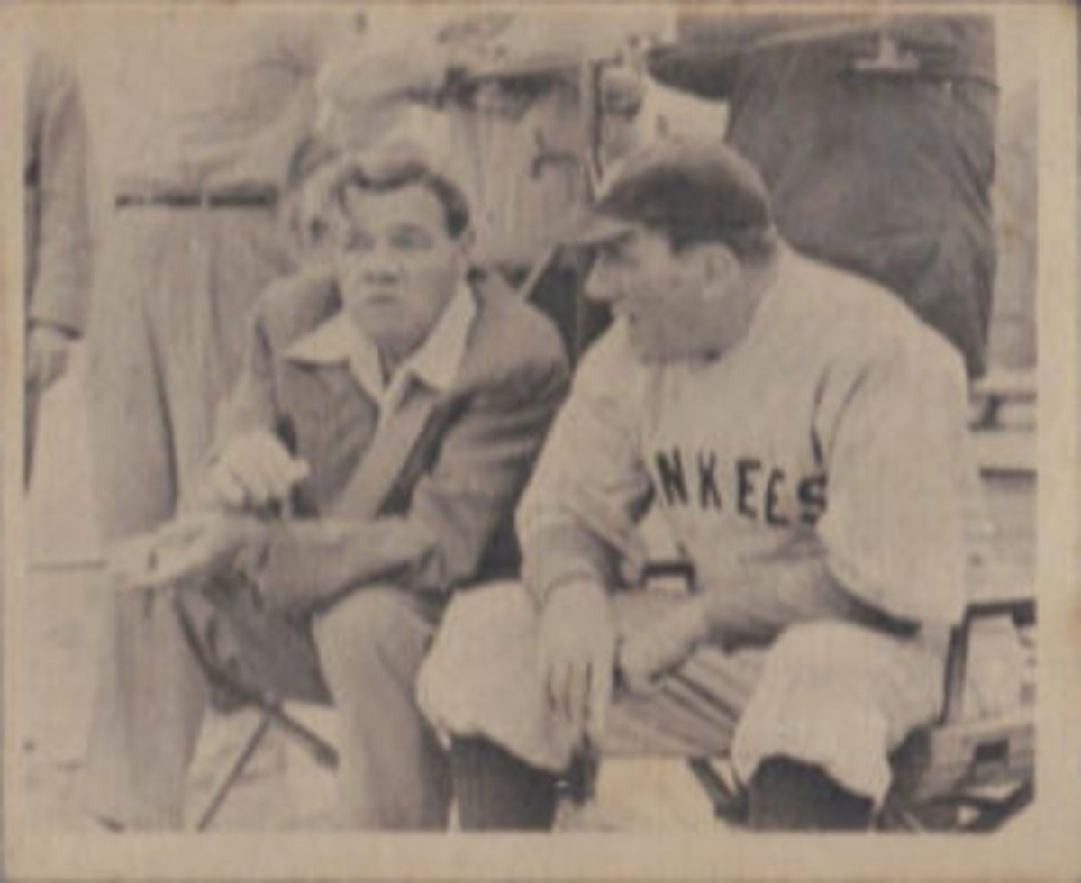 "Babe Ruth and William Bendix appear together on card #1 of the ""Babe Ruth Story"" card set."