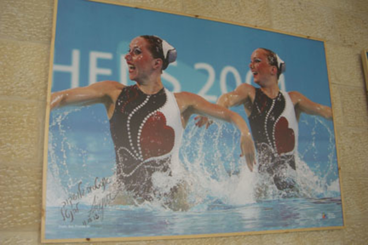 Photos of Israeli sports stars are part of the Israel sports exhibit at the Tel Aviv Ben Gurion International Airport.