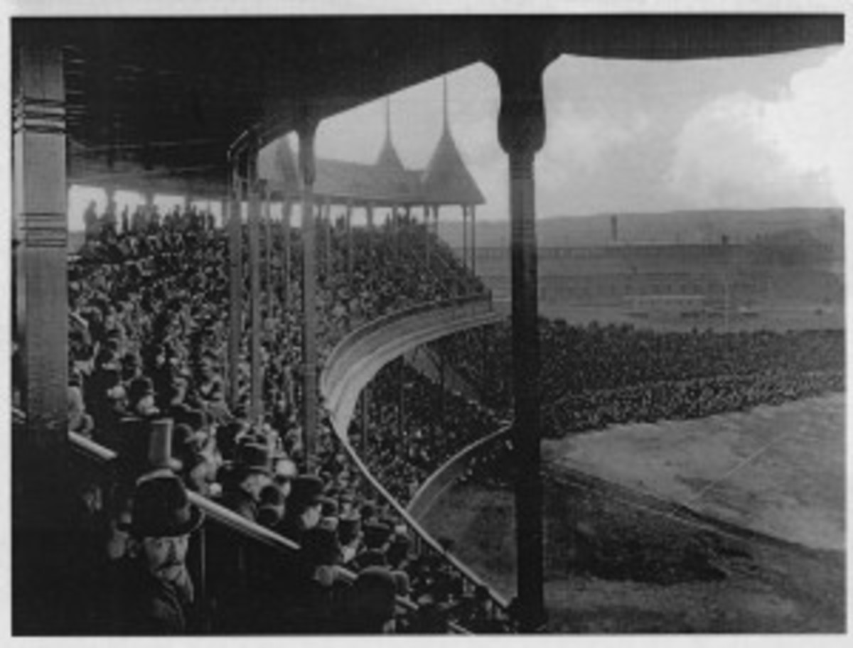 An actual photo of the South End Grounds, complete with fans in the grandstand. Today, there is virtually no trace of the beautiful ballpark.