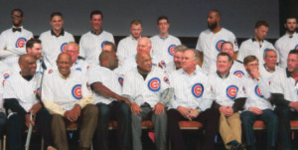 Past and present Chicago Cubs players at the opening ceremony of the 34th Chicago Cubs Convention. Five Baseball Hall of Famers sit in the front row (L to R) Andre Dawson, Fergie Jenkins, Lee Smith, Billy Williams and Ryne Sandberg. (Rick Firfer photos)