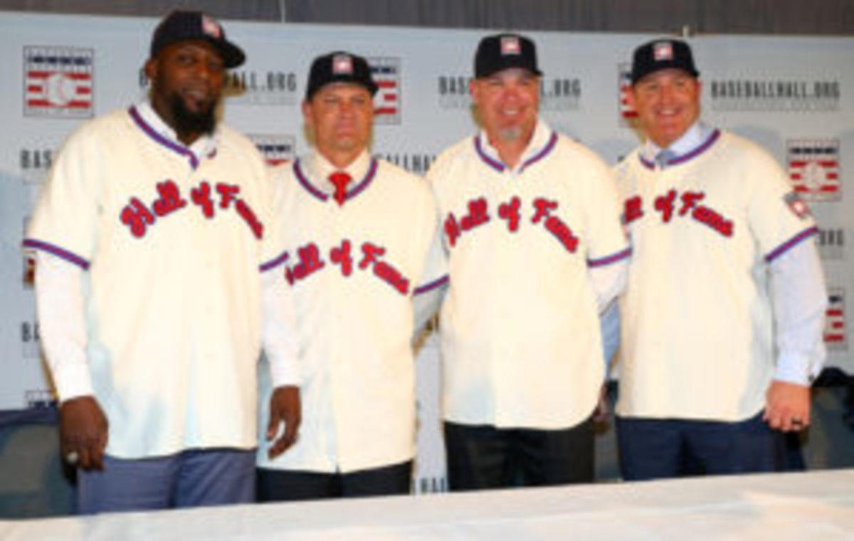 (L-R) Vladimir Guerrero, Trevor Hoffman, Chipper Jones, and Jim Thome pose for a photo following the 2018 Baseball Hall of Fame press conference announcing this year's induction class on Thursday, January 25, at the St. Regis Hotel in New York City. (Photo by Alex Trautwig/MLB Photos via Getty Images)