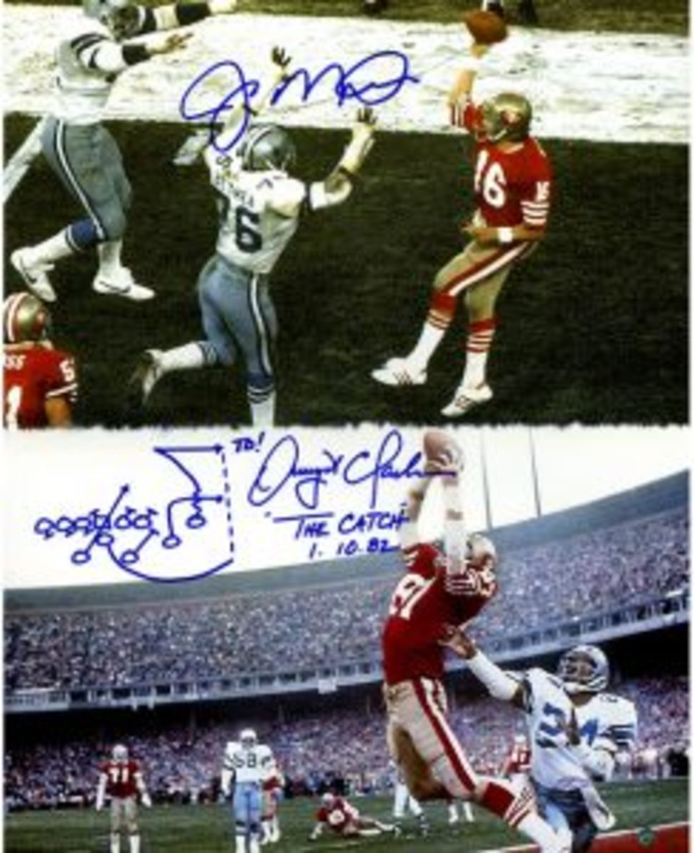 """Joe Montana and Dwight Clark will always be connected in NFL history for the play that has been dubbed """"The Catch."""" This play propelled the 49ers to its first of many Super Bowls. (Steinersports.com image)"""