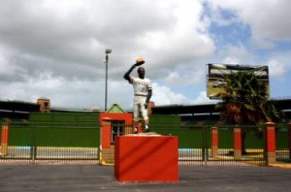 A statue of Roberto Clemente at Roberto Clemente Stadium, a 12,500-seat facility in Carolina, Puerto Rico.