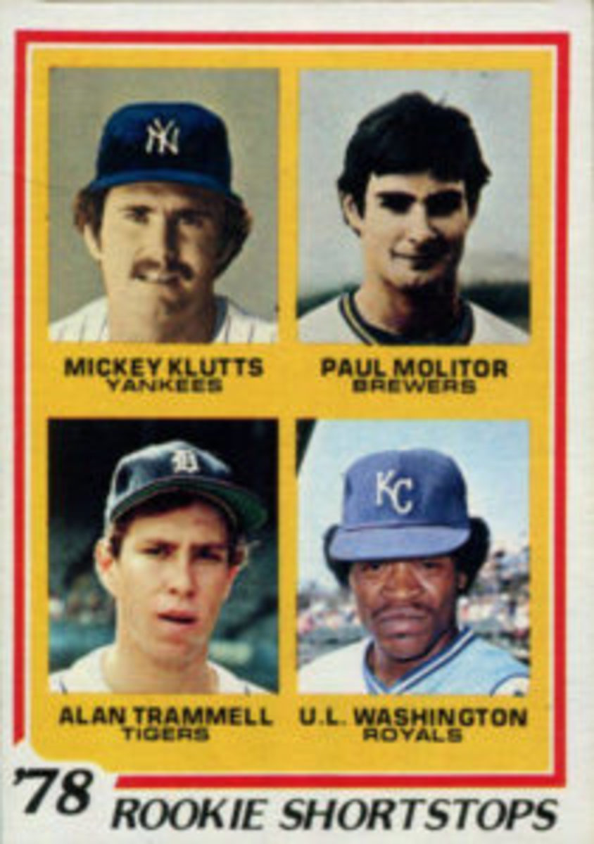 Alan Trammell shares a rookie card with fellow Baseball Hall of Famer Paul Molitor on card No. 707 of the 1978 Topps Baseball card set.