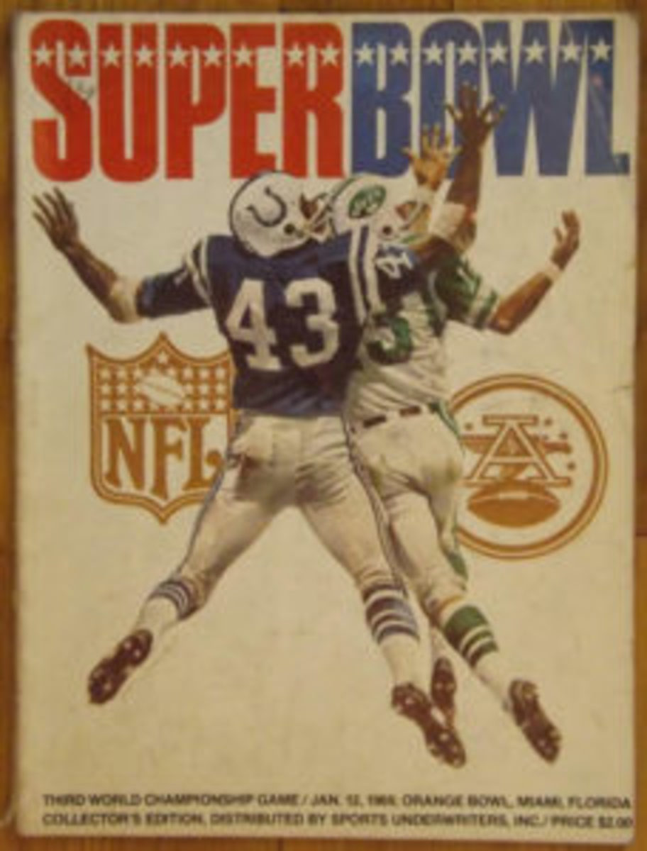 The cover of the Super Bowl III game program.