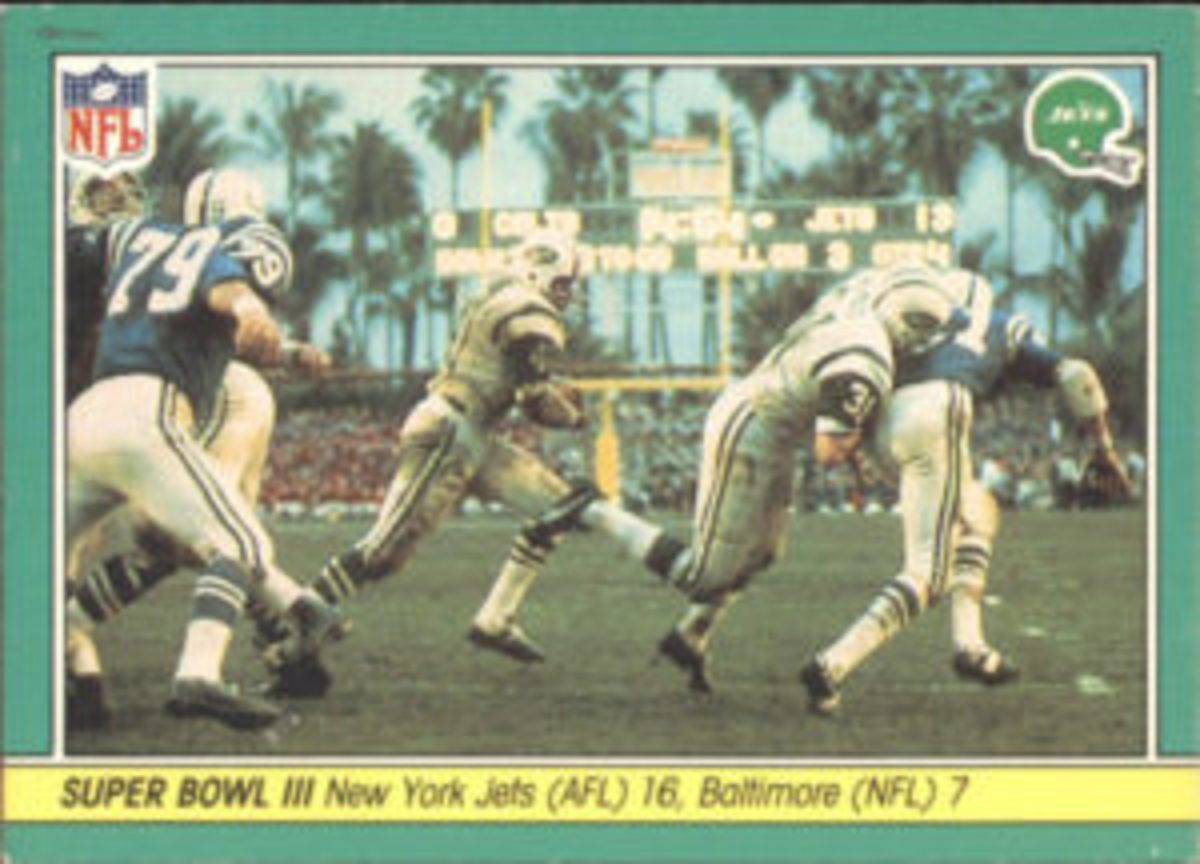 The New York Jets victory in Super Bowl III was commemorated on this 1984 Fleer Football card.