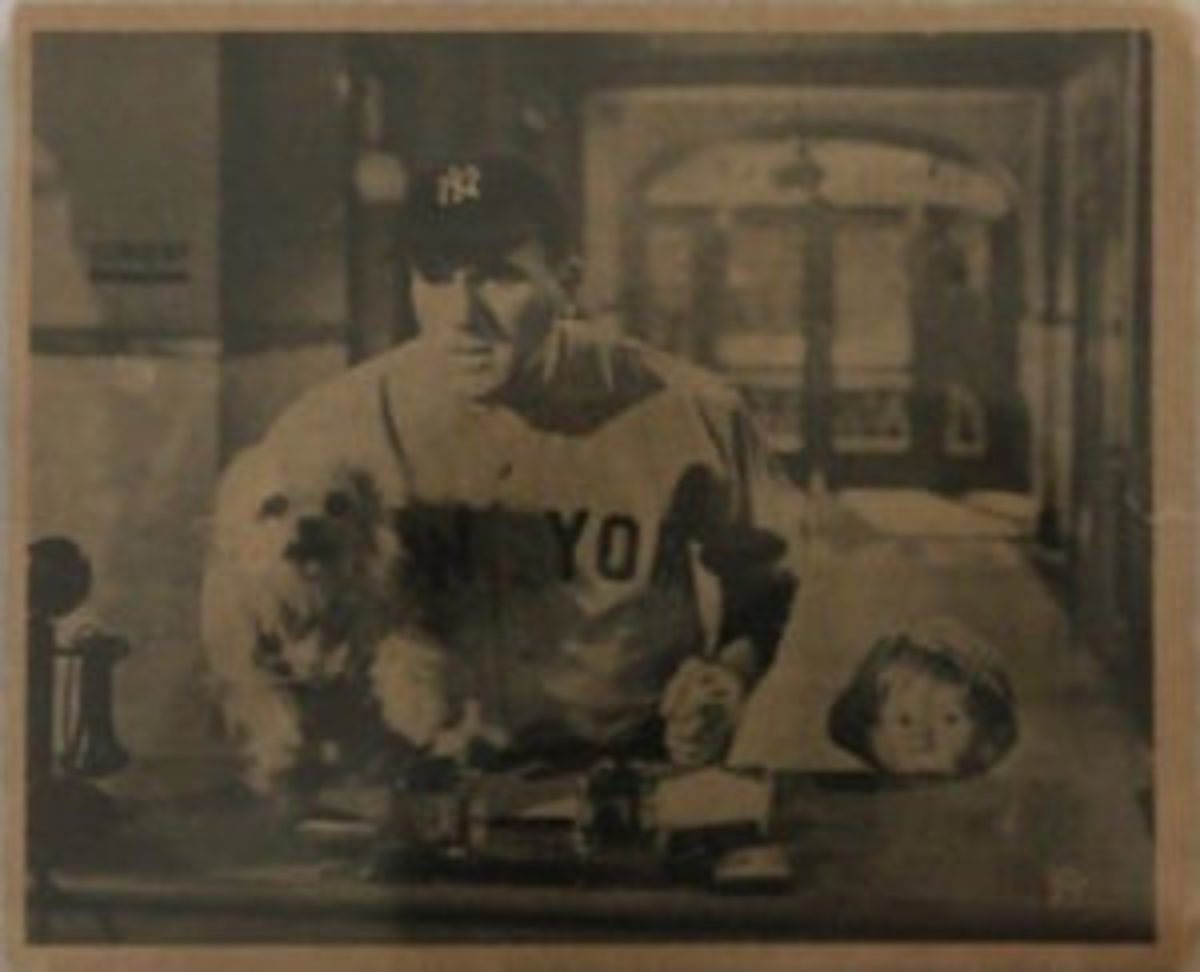 "Card #14 from ""The Babe Ruth Story"" card set, ""When a Feller needs a friend,"" shows William Bendix as Babe Ruth with a dog in a police station."