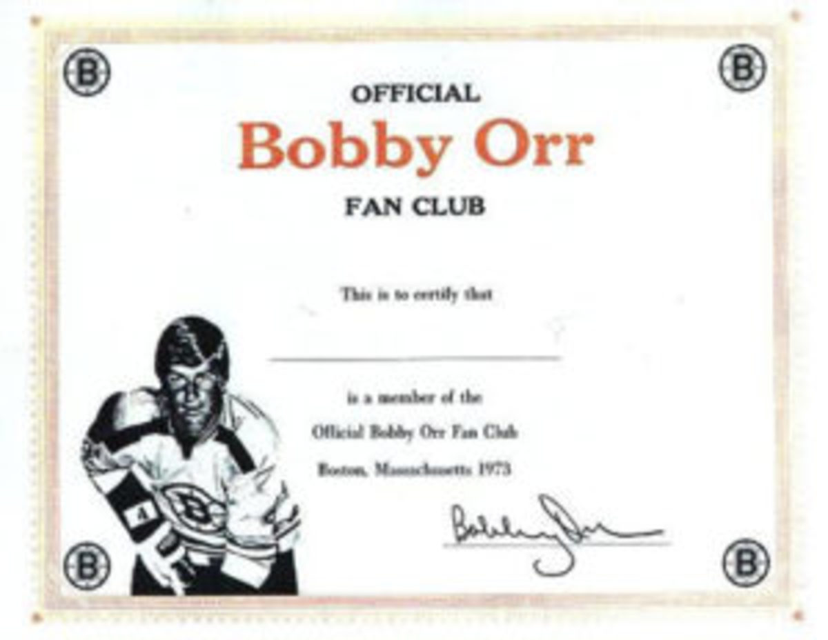 Those who joined the Bobby Orr Fan Club received an official certificate.