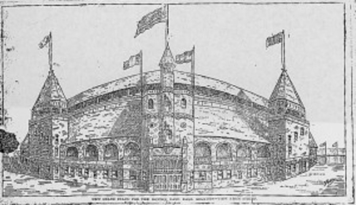 An original drawing of the South End Grounds from a Boston newspaper. The ballpark succumbed to fire in 1894.