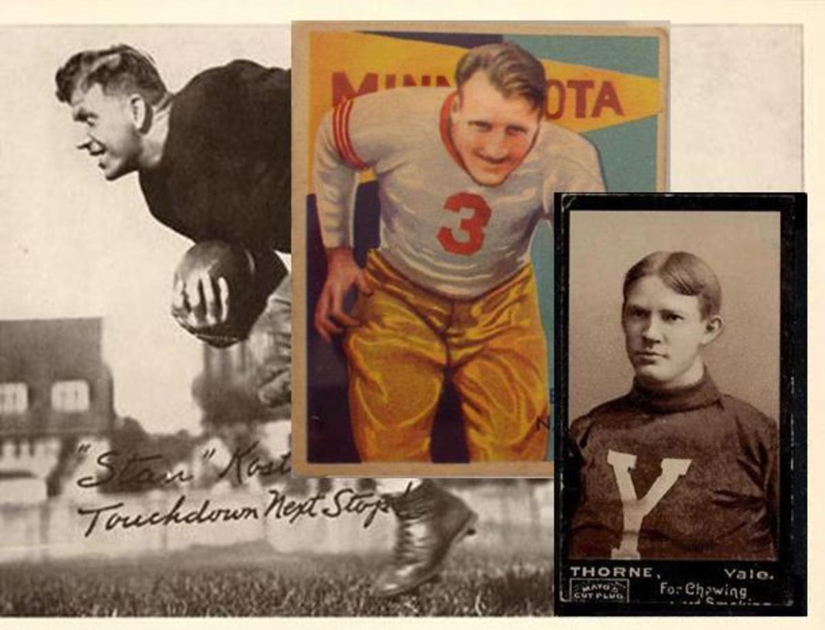 Prewar football is limited, but expensive – from left: background 1935 National Chicle premium, 1935 National Chicle Nagurski and 1894 Mayo.