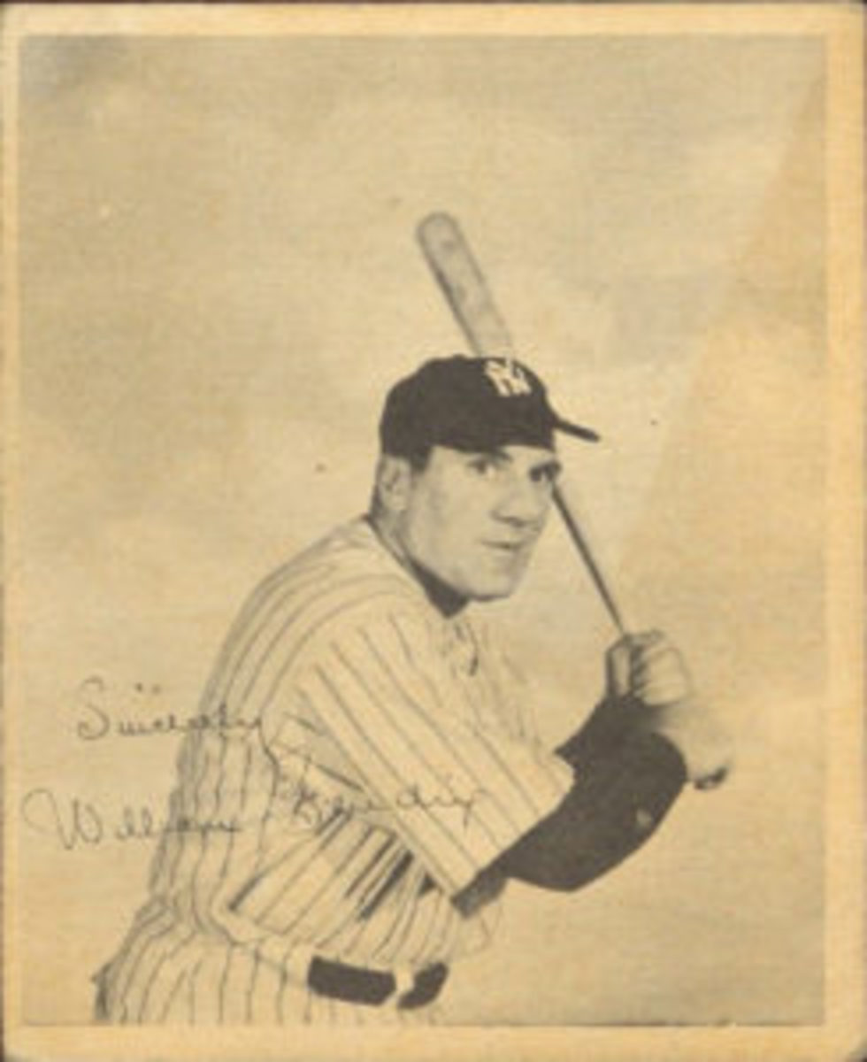 "Card #2 from ""The Babe Ruth Story"" card set features actor William Bendix in a batting pose, imitating Babe Ruth."