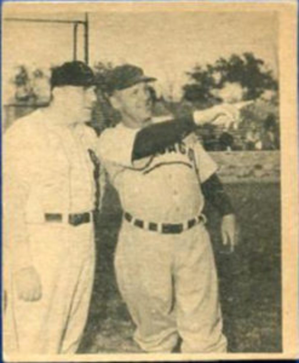 Card #23 shows William Bendix (left) with Charles Grimm, who managed and played against Babe Ruth in the 1932 World Series.