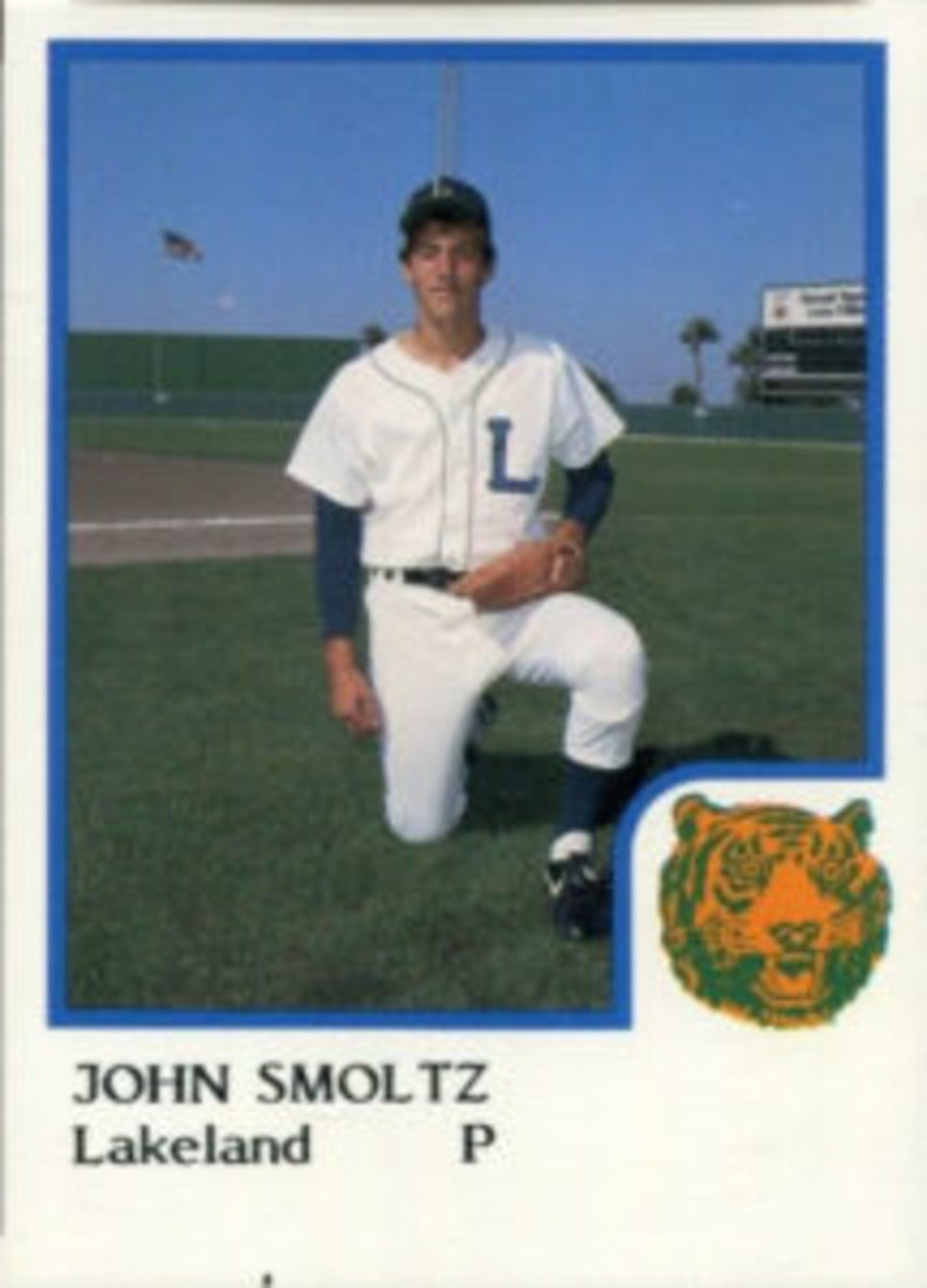 A 1986 Procards minor league card of John Smoltz when he was a member of the Lakeland Tigers.