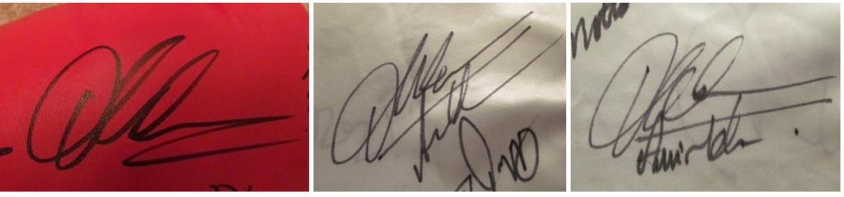 Comparison of Amir Khan Signatures