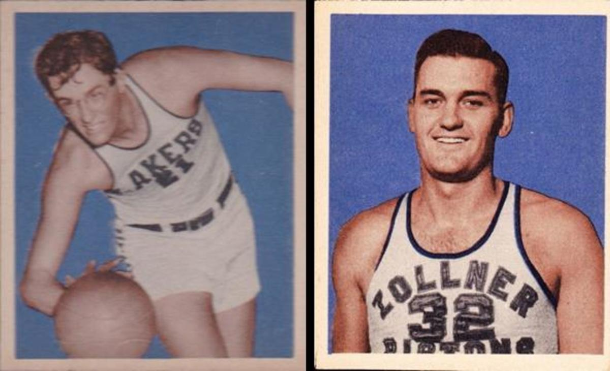 The 72-card 1948 Bowman set featured BAA players including George Mikan and Bob Kinney with their team names: the Minneapolis Lakers and the Zollner Pistons, which became known as the Ft. Wayne Pistons in 1948.