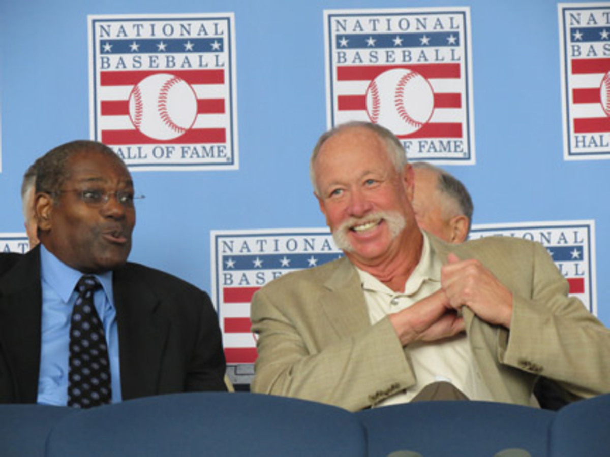 Only 32 of the 62 living Hall of Famers showed up for induction weekend in 2013, including Bob Gibson, left, and Goose Gossage.
