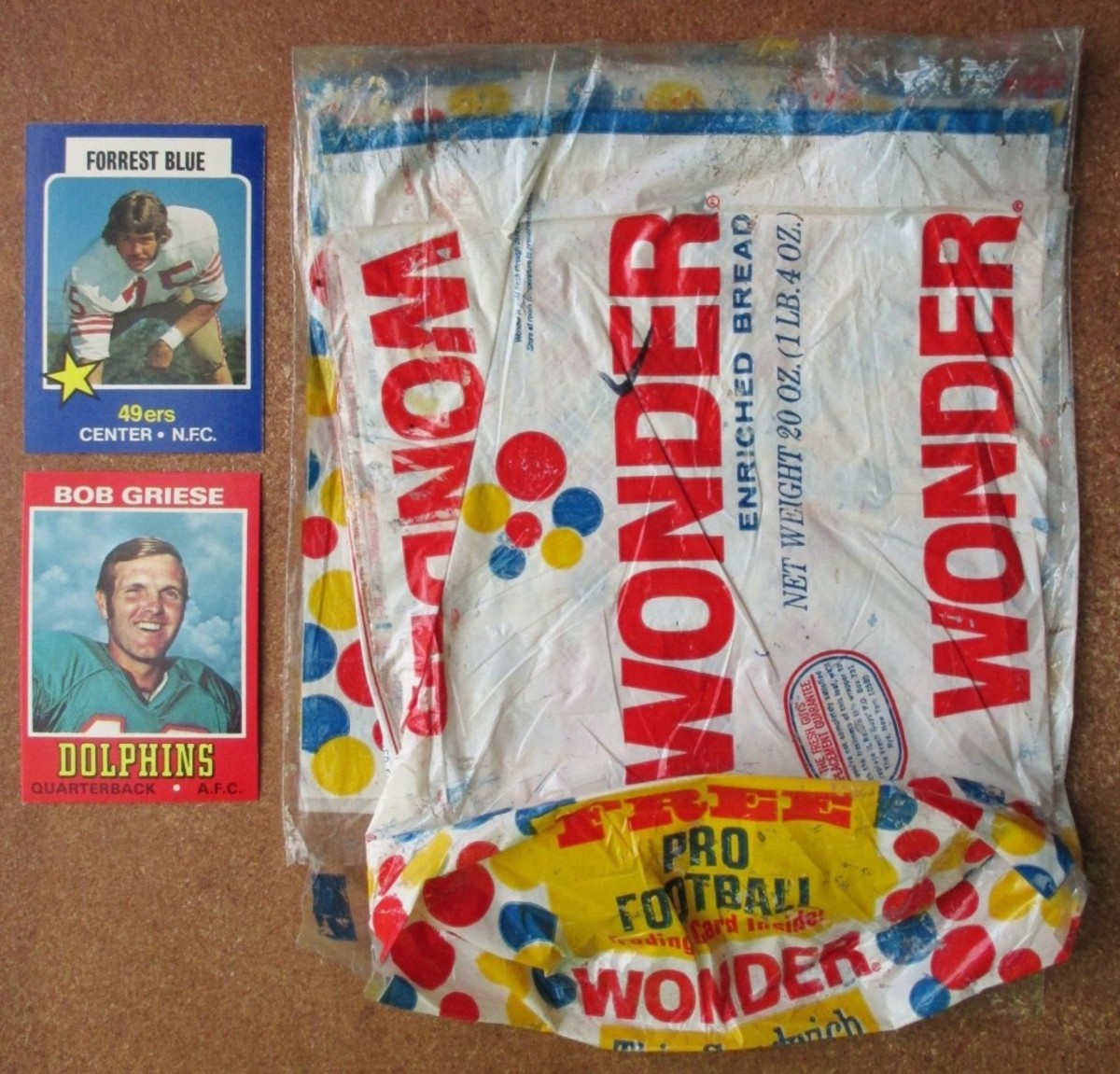From 1974-76, fans could find football cards produced by Topps in packages of Wonder Bread. Photo courtesy Mike Mosier of Columbia City Collectibles