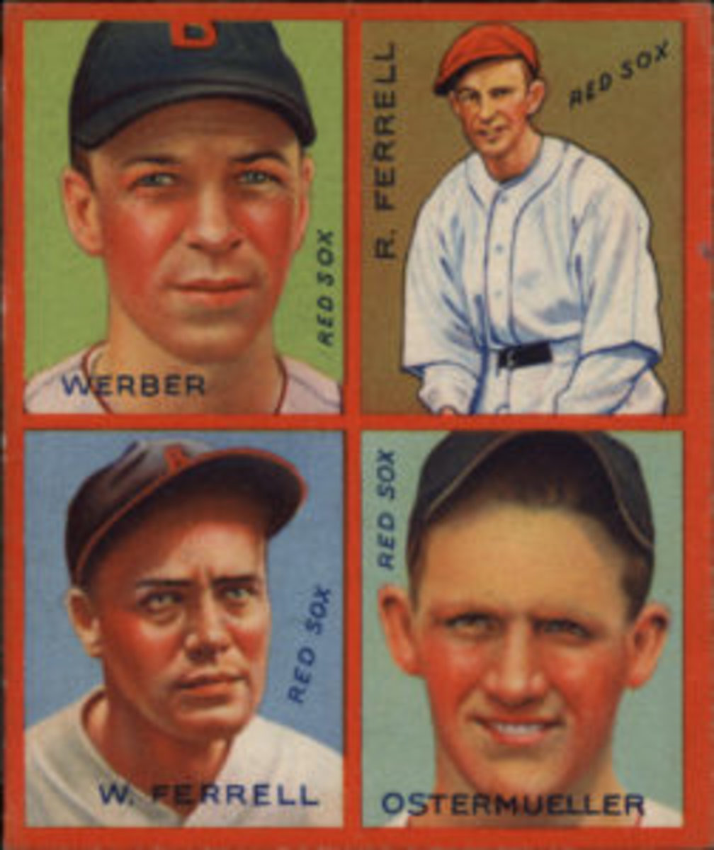 Brothers Wes and Rick Ferrell were featured on the same card in the 1935 Goudey 4-in-1 (R321) set.